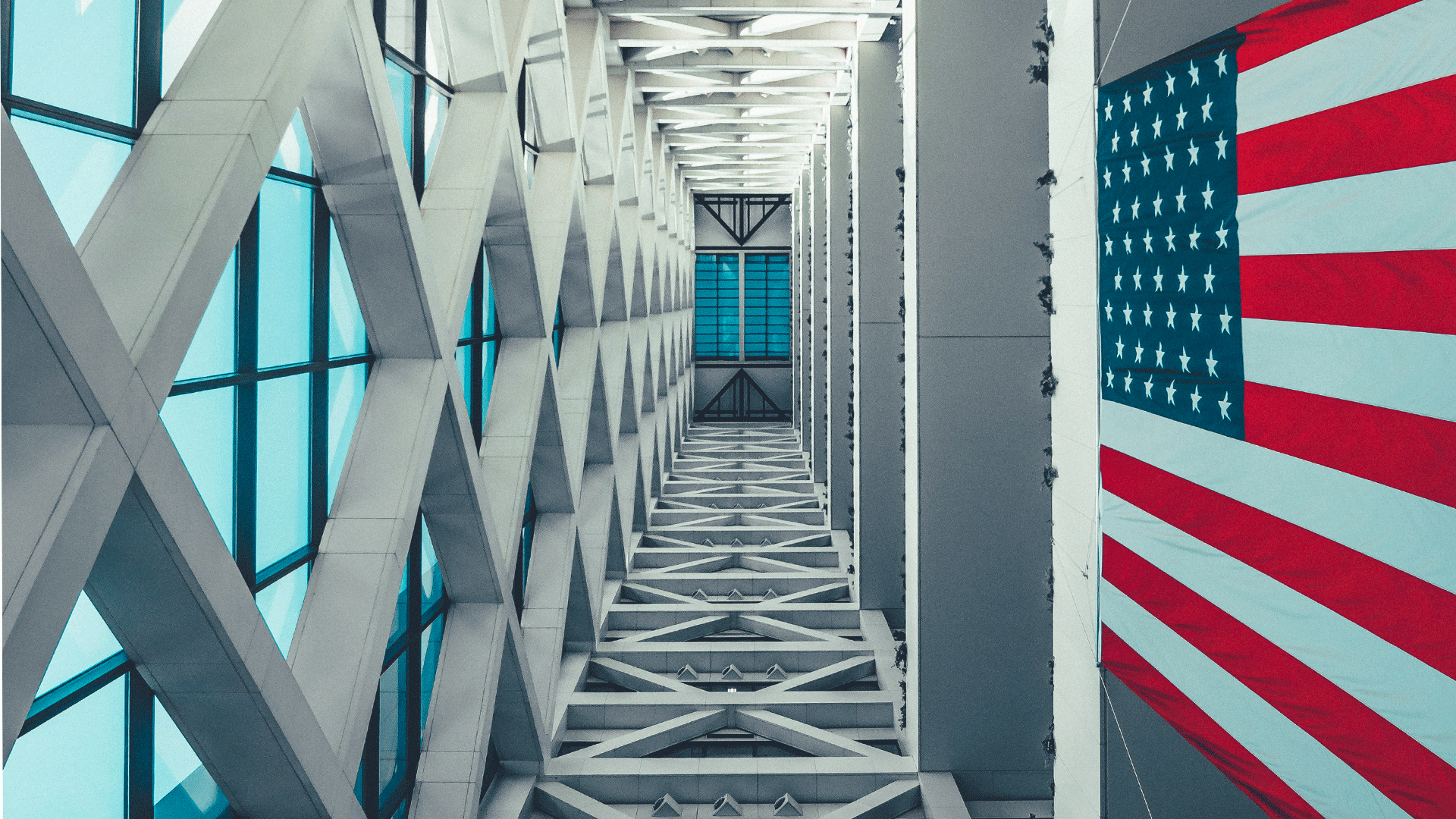Lobby view with US flag